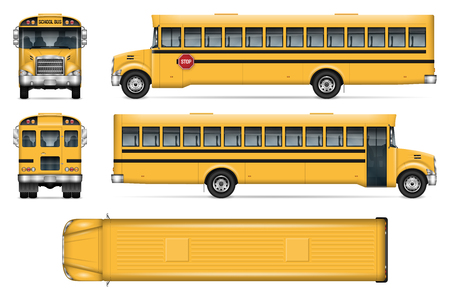 School bus vector mock-up. Isolated template of city transport on white background Çizim