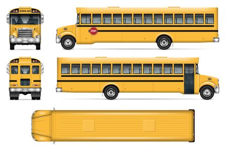 Schoolbus vector mock-up. Geïsoleerde sjabloon van stadsvervoer op witte achtergrond