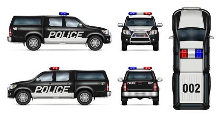 Polizeiwagen-Vektor-Modell. Getrennte Schablone des schwarzen Kleintransporters auf weißem Hintergrund. Seitenansicht, Vorderansicht, Rückansicht, Draufsicht. Alle Elemente in den Gruppen auf separaten Ebenen. Leicht zu bearbeiten und neu einzufärben. Vektorgrafik