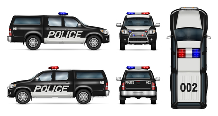 Police car vector mock-up. Isolated template of black pickup truck on white background. Side, front, back, top view. All elements in the groups on separate layers. Easy to edit and recolor.