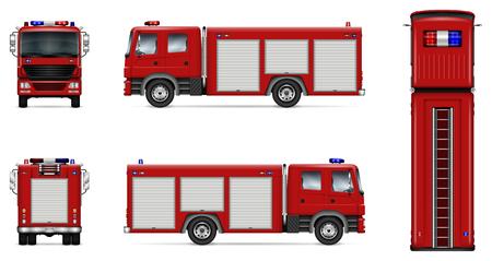Camión de bomberos maqueta de vector. Plantilla aislada de camión rojo sobre blanco. Maqueta de marca de vehículos. Vista lateral, frontal, posterior, superior. Todos los elementos en los grupos en capas separadas. Fácil de editar y volver a colorear. Ilustración de vector