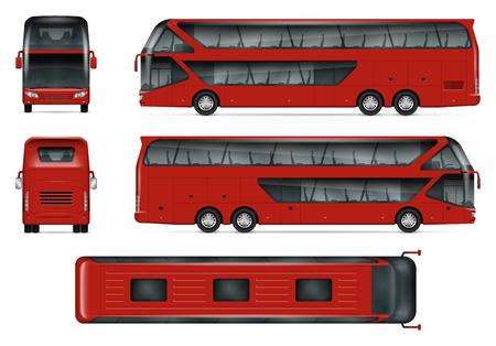 Bus vector mock-up Geïsoleerde sjabloon van rode reiscoach op wit. Model voor voertuigbranding, zicht vanaf zijkant, voorkant, achterkant en bovenkant. Vector Illustratie