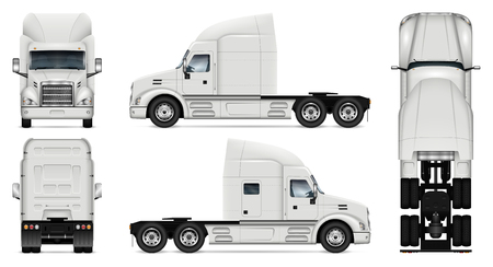 Truck vector mock-up. Isolated template of lorry on white background. Vehicle branding mockup. Side, front, back, top view.