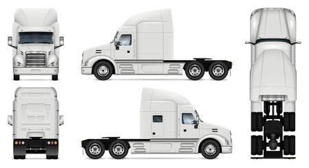 Vrachtwagen vector mock-up. Geïsoleerde sjabloon van vrachtwagen op witte achtergrond. Model voor voertuigbranding. Zijkant, voorkant, achterkant, bovenaanzicht.