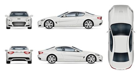Auto vector mock-up. Geïsoleerde sjabloon van supercar op witte achtergrond. Mockup voor voertuigbranding. Zij-, voorkant, achterkant, bovenaanzicht.