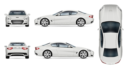 Maqueta de vector de coche. Plantilla aislada de superdeportivo sobre fondo blanco. Maqueta de marca de vehículo. Vista lateral, frontal, posterior y superior.