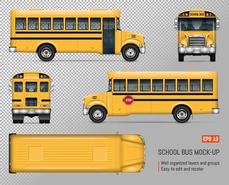 Schoolbus vector mock-up. Geïsoleerde sjabloon van gele autobus op transparante achtergrond. Model voor voertuigbranding, uitzicht vanaf zijkant, voorkant, achterkant en bovenkant.