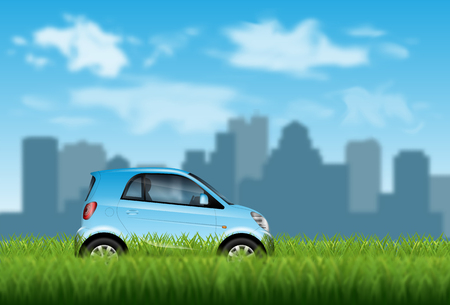 Concept of Eco friendly car on the green grass over city background with blur effect.