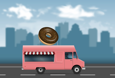 Donut truck on the blurred city background. 向量圖像