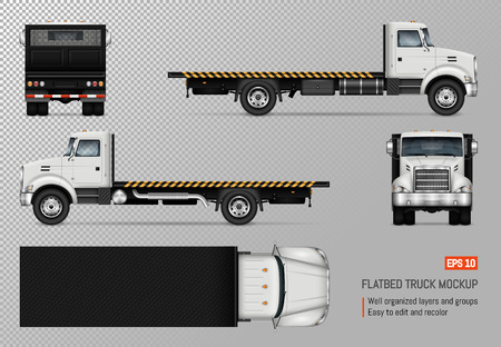 Maqueta de vector de camión de plataforma. Plantilla aislada del camión blanco sobre fondo transparente para la marca del vehículo, identidad corporativa. Vista desde los lados izquierdo, derecho, frontal, posterior y superior.