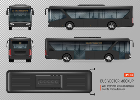 Bus vector mockup. Isolated template of city transport on transparent background for vehicle branding, corporate identity. View from left, right, front, back, top sides.