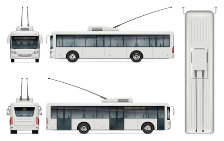 Trolleybus vector mockup on white background for vehicle branding, corporate identity. View from left, right, front, back, top sides. All elements in the groups on separate layers for easy editing and recolor.