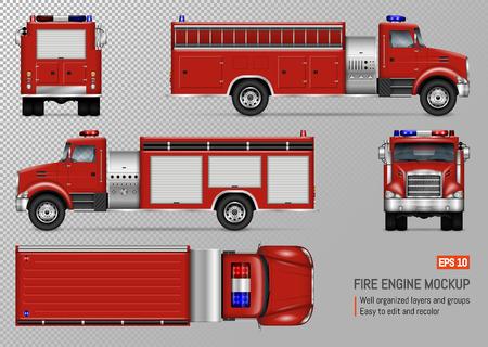 Maqueta de vector de motor de camión de bomberos para marca de vehículo, identidad corporativa. Vista de frente, atrás, arriba, lado izquierdo y derecho. Todos los elementos de los grupos en capas independientes para editarlos y cambiar el color fácilmente.
