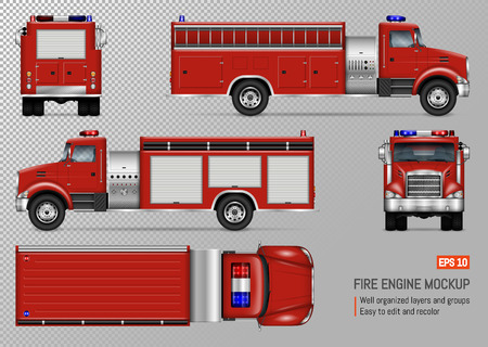 Fire truck engine vector mockup for vehicle branding, corporate identity. View from front, back, top, left and right side. All elements in the groups on separate layers for easy editing and recolor. Illustration