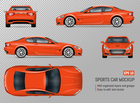 Sportwagen vector mockup. Geïsoleerde sjabloon van supercar op transparante achtergrond voor voertuigbranding, huisstijl. Uitzicht vanaf links, rechts, voorkant, achterkant en bovenkant Vector Illustratie