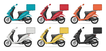 Delivery scooter vector mockup with left side view. Isolated template of motorcycle on white background for vehicle branding, corporate identity. All elements in the groups on separate layers.