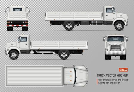 Flatbed vrachtwagen vector mockup. Geïsoleerde sjabloon van de witte vrachtwagen op transparante achtergrond voor voertuigbranding, huisstijl. Uitzicht vanaf links, rechts, voorkant, achterkant en bovenkant. Vector Illustratie