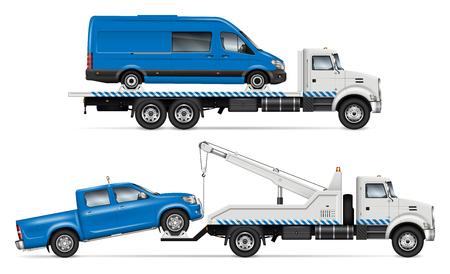 Realistische sleepwagen vector mockup. Geïsoleerde sjabloon van pechvrachtwagen op witte achtergrond voor voertuigbranding, huisstijl. Uitzicht vanaf de rechterkant, eenvoudig bewerken en opnieuw kleuren.
