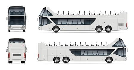 Öffnen Sie Tourbus-Vektormodell auf weißem Hintergrund für Fahrzeugbranding, Corporate Identity. Blick von der Seite, von vorne und von hinten. Alle Elemente in den Gruppen auf separaten Ebenen zum einfachen Bearbeiten und Umfärben.