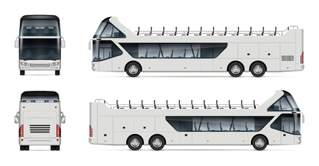 Open tour bus vector mockup on white background for vehicle branding, corporate identity. View from side, front, and back. All elements in the groups on separate layers for easy editing and recolor.