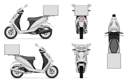 Delivery Scooter vector mockup on white for vehicle branding, corporate identity. View from side, front, back, and top. All elements in the groups on separate layers for easy editing and recolor