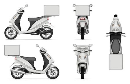 Mockup di vettore di scooter di consegna su bianco per il marchio del veicolo, identità aziendale. Vista laterale, anteriore, posteriore e dall'alto. Tutti gli elementi nei gruppi su livelli separati per un facile editing e ricolorazione Vettoriali