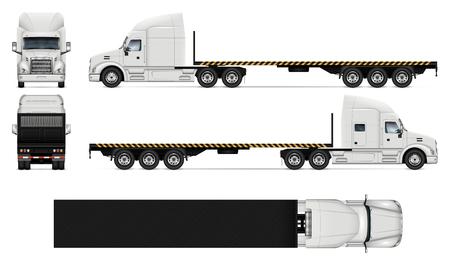 Flatbed truck vector mockup op wit voor voertuigbranding, huisstijl. Uitzicht vanaf zijkant, voorkant, achterkant en bovenkant. Alle elementen in de groepen op afzonderlijke lagen voor eenvoudig bewerken en opnieuw kleuren. Vector Illustratie