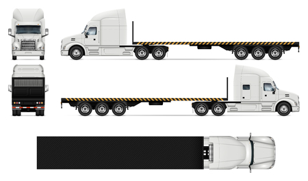 Flatbed truck vector mockup on white for vehicle branding, corporate identity. View from side, front, back, and top. All elements in the groups on separate layers for easy editing and recolor. Illustration