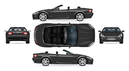 Maqueta de vector de coche convertible negro sobre blanco para marca de vehículo, identidad corporativa. Vista lateral, frontal, posterior y superior. Todos los elementos de los grupos en capas separadas para facilitar la edición y el cambio de color.