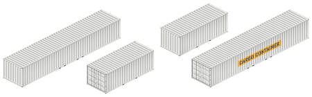 Cargo container vector mockup on white background with side, front, back, top view. All elements in the groups on separate layers for easy editing and recolor.