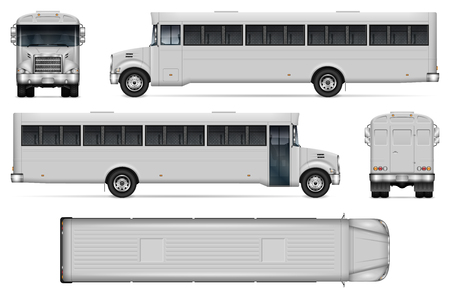 Correction bus vector mockup on white background with side, front, back, and top view. All elements in the groups on separate layers for easy editing and recolor.