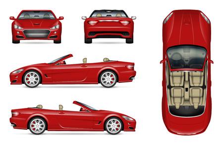 Rotes konvertierbares Autovektormodell auf Weiß für Fahrzeugbranding, Corporate Identity. Blick von der Seite, von vorne, von hinten und von oben. Alle Elemente in den Gruppen auf separaten Ebenen zum einfachen Bearbeiten und Umfärben Vektorgrafik