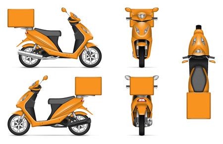 Maquette vectorielle de scooter de livraison sur blanc pour la marque de véhicule, identité d'entreprise. Vue de côté, de face, de dos et de dessus. Tous les éléments des groupes sur des calques séparés pour une édition et une recoloration faciles