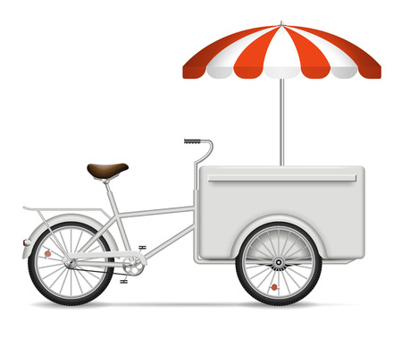 Food cart on white background for vehicle branding, corporate identity. Isolated cargo bike vector illustration with side view. Vectores