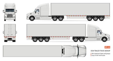 Mockup di vettore di camion semirimorchio per auto branding e pubblicità. Camion isolato Veicolo da carico impostato su sfondo bianco. Vista laterale, anteriore, posteriore, superiore Vettoriali