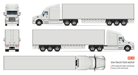 Semi trailer truck vector mockup for car branding and advertising. Isolated lorry Cargo vehicle set on white background. View from side, front, back, top