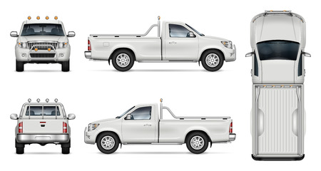Pickup truck vector mockup on white background for vehicle branding, corporate identity. View from side, front, back, and top. All elements in the groups on separate layers for easy editing