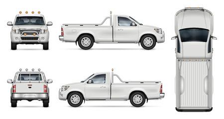 Pickup-Truck-Vektormodell auf weißem Hintergrund für Fahrzeugbranding, Unternehmensidentität. Ansicht von der Seite, von vorne, von hinten und von oben. Alle Elemente in den Gruppen auf separaten Ebenen zur einfachen Bearbeitung