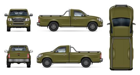 Grünes Pickup-Truck-Vektormodell auf weißem Hintergrund. Ansicht von der Seite, von vorne, von hinten und von oben. Alle Elemente in den Gruppen auf separaten Ebenen zum einfachen Bearbeiten und Umfärben