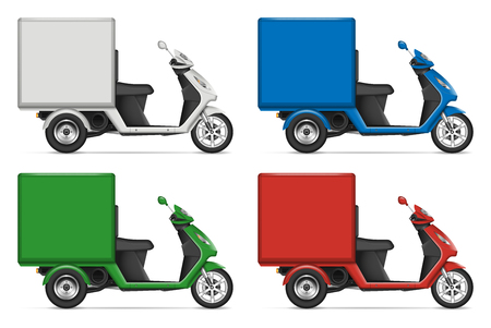 Cargo scooter profile view on white for vehicle branding, corporate identity. All elements in the groups on separate layers for easy editing and recolor