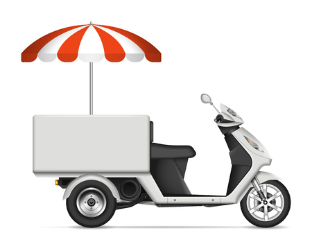 Food scooter profile view on white background for vehicle branding, corporate identity. All elements in the groups on separate layers for easy editing and recolor Illustration