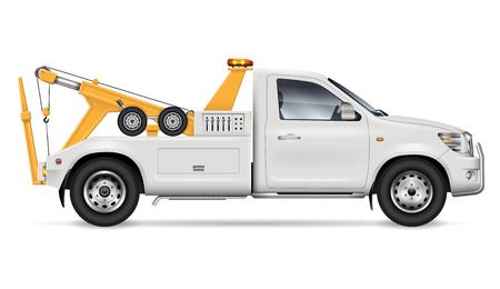 Maquette vectorielle de camion de remorquage sur fond blanc pour la marque de véhicule et l'identité d'entreprise, vue latérale. Tous les éléments des groupes sur des calques séparés pour une édition et une recoloration faciles. Vecteurs