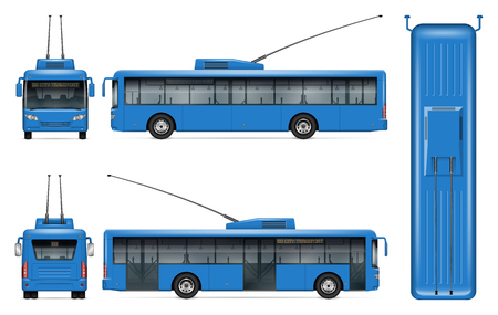 Blue trolleybus vector mockup on white background for vehicle branding, corporate identity. View from side, front, back, top. All elements in the groups on separate layers for easy editing and recolor