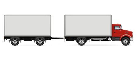 Plantilla de vector de camión semirremolque. Camión aislado con remolque en blanco para marca de vehículo, identidad corporativa. Todos los elementos de los grupos en capas independientes para editarlos y cambiar el color fácilmente
