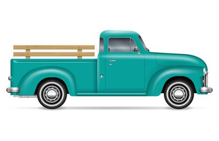Ilustración de vector de recogida retro sobre fondo blanco. Vista lateral del camión viejo verde aislado. Todos los elementos de los grupos en capas independientes para editarlos y cambiar el color fácilmente. Ilustración de vector