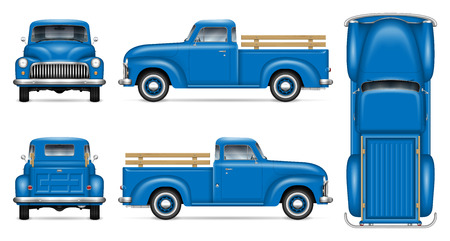 Maquette de vecteur de camionnette classique sur fond blanc. Camion vintage bleu isolé vue de côté, avant, arrière, haut. Tous les éléments des groupes sur des calques séparés pour une édition et une recoloration faciles.