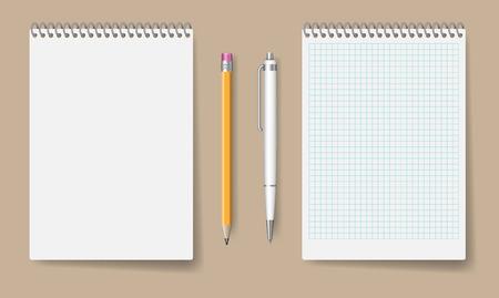 Mockup di quaderno a spirale vuoto per identità aziendale e marchio. Blocco note realistico con illustrazione vettoriale isolato penna e matita Vettoriali