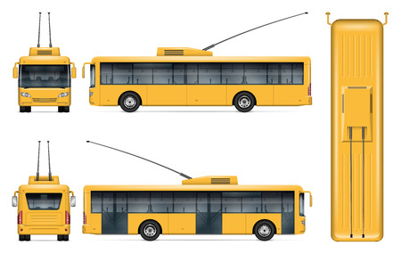Yellow trolleybus vector mockup on white background for vehicle branding, corporate identity. View from side, front, back, top. All elements in the groups on separate layers for easy editing and recolor