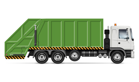 Realistic garbage truck vector mockup. Isolated template of dump lorry on white background for vehicle branding, corporate identity. View from right side, easy to editing and recolor.