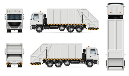 Realistic white garbage truck vector mockup. Isolated template of dump lorry on white background for vehicle branding, corporate identity. View from right side, easy to editing and recolor.